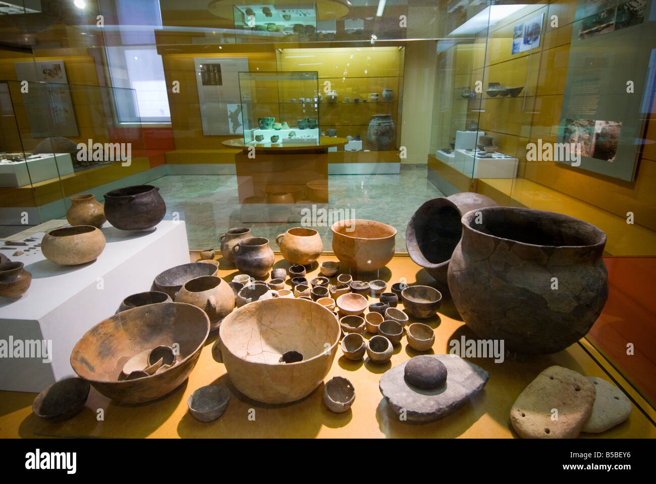 Pottery display from archeological sites in the Valencian Prehistoric and Ethnology Museum Spain - Stock Image