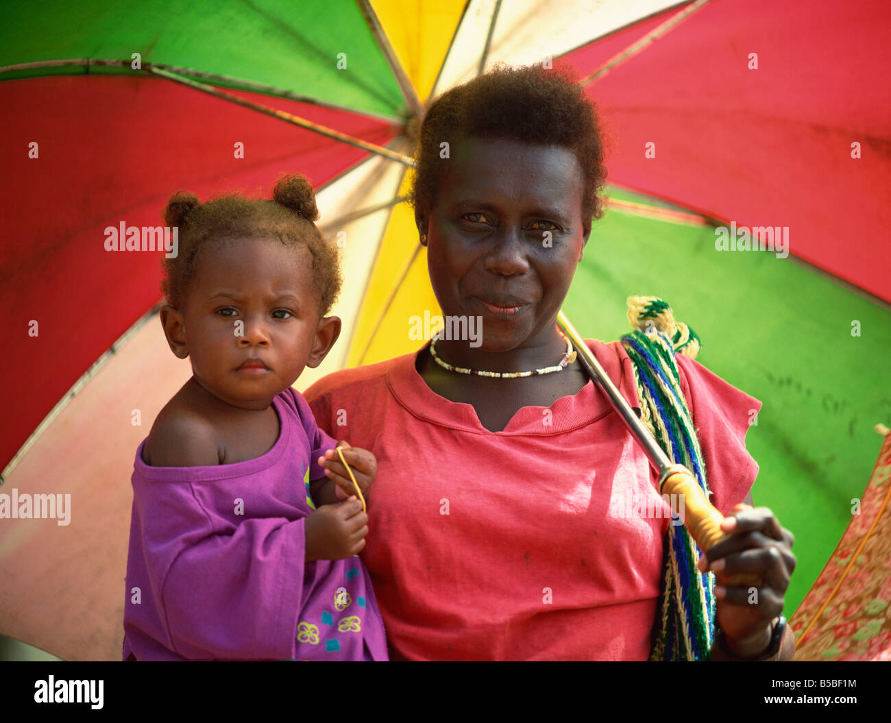 Woman and child, Solomon Islands, Pacific Islands, Pacific - Stock Image