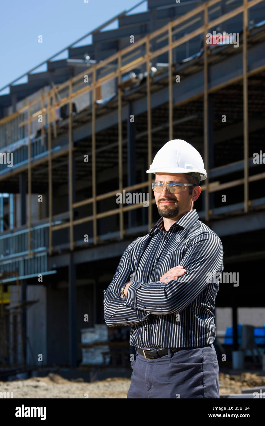 Architect on building site - Stock Image