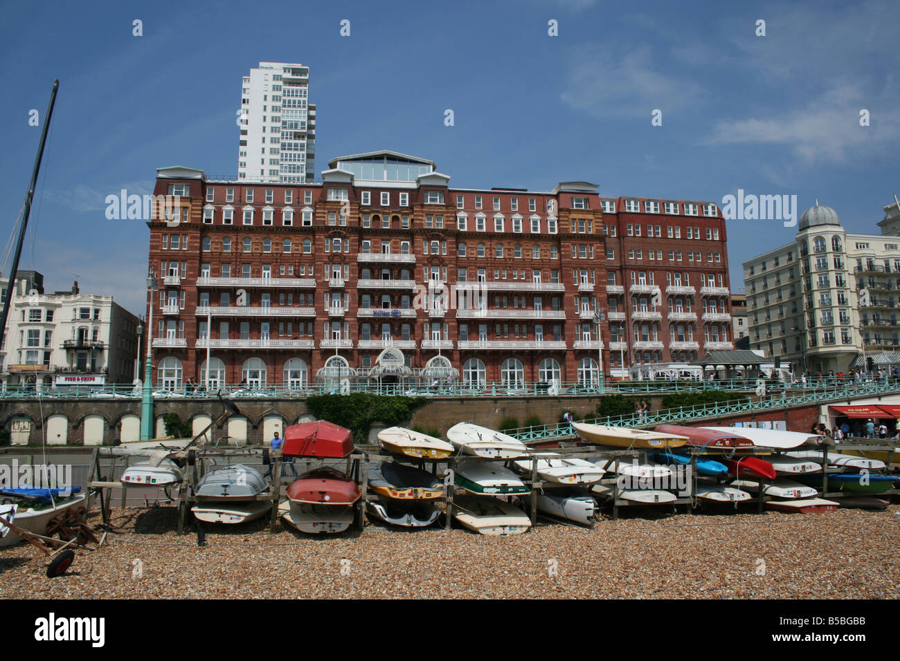 Hotel Metropole on the Seafront in Brighton. - Stock Image
