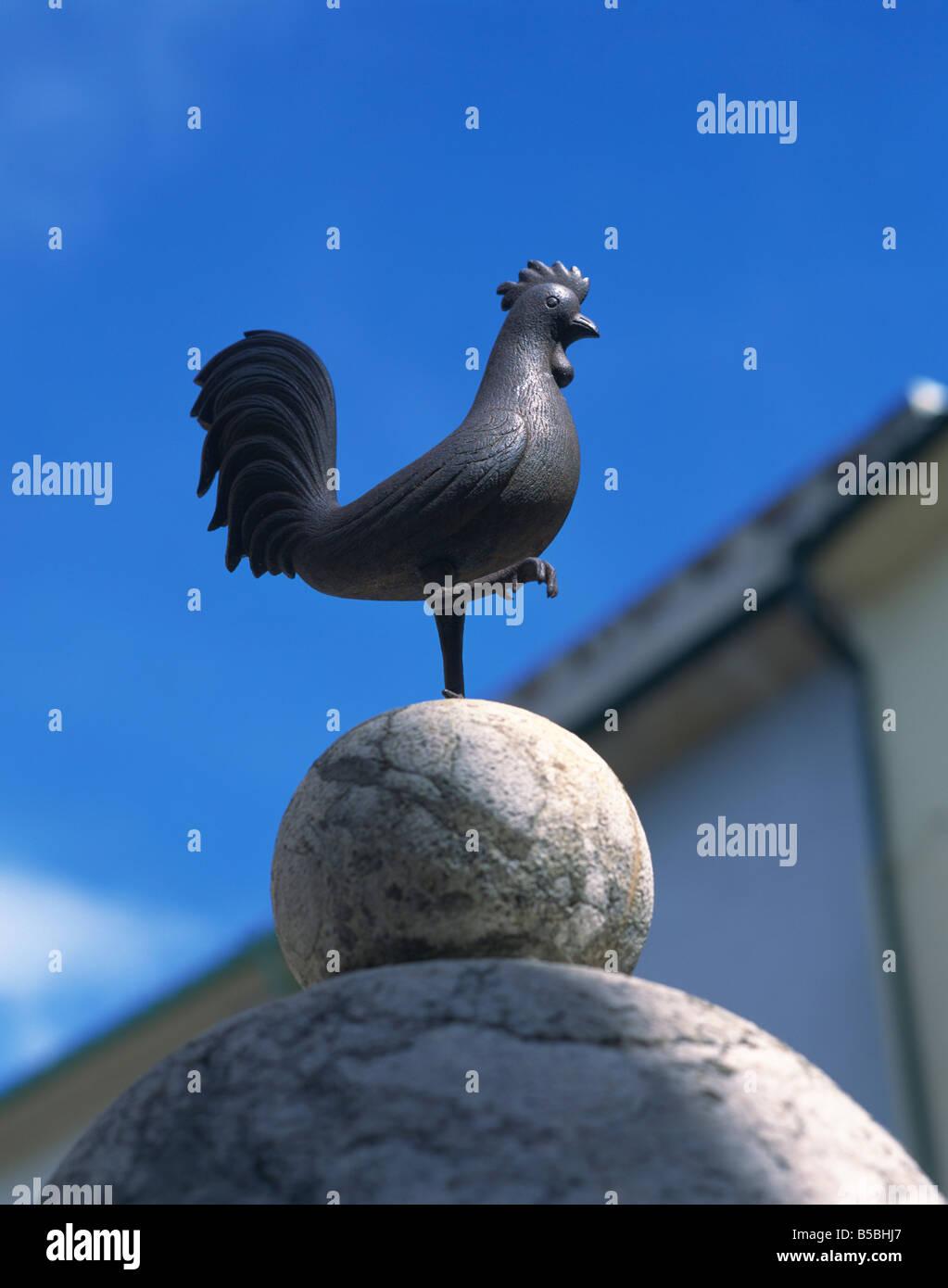 Cockerel over fountain at Calvari Pollenca Mallorca Balearic Islands Spain Europe - Stock Image