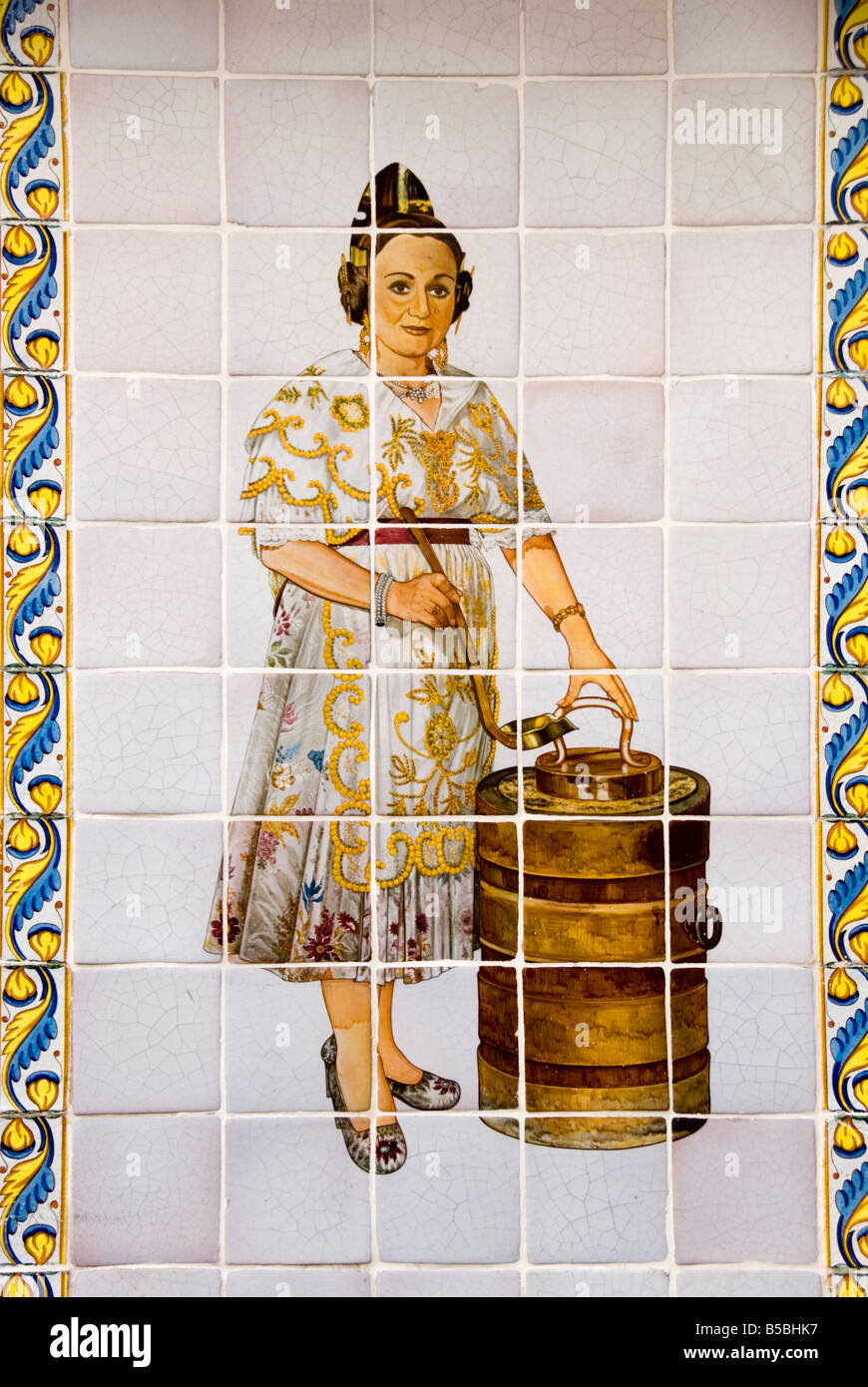 Detail of old horchateria (tiger nut) cafe sign El Siglo of hand painted tiles or Azulejos in the historical city - Stock Image
