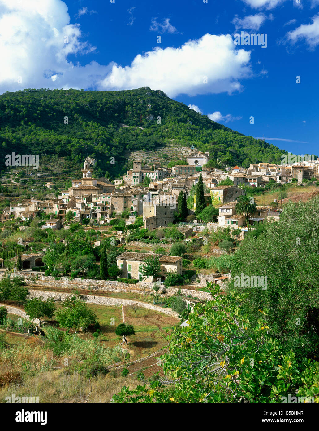 Houses and churches in the hill town of Valldemosa on Majorca Balearic Islands Spain Europe Stock Photo