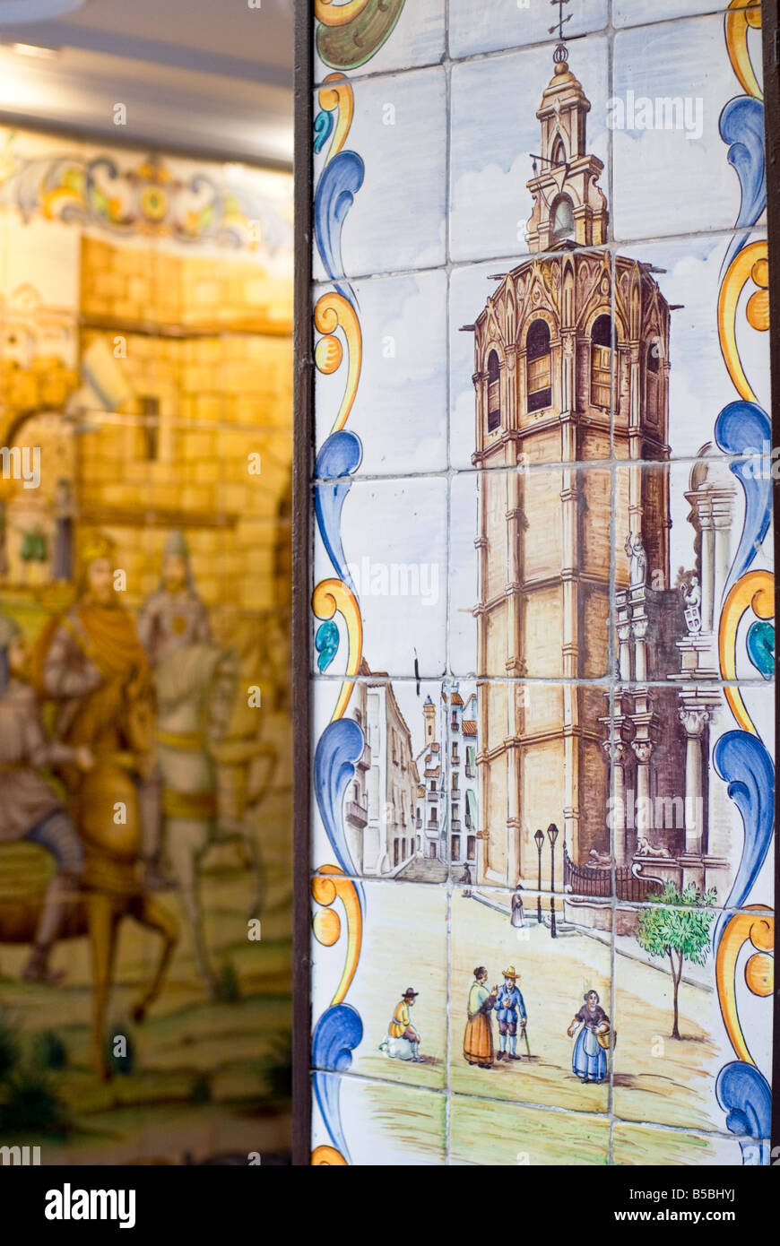 Detail of hand painted tiles or Azulejos of the El Micalet cathedral bell tower in historical centre of Valencia - Stock Image