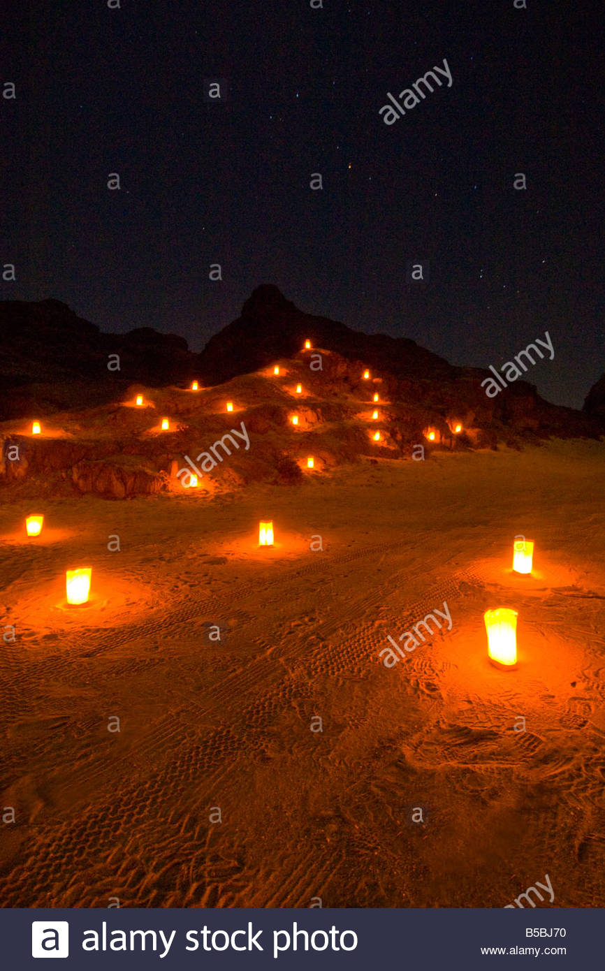 Candlelit mountainside in a canyon outside Swakopmund in the Namib Desert Namibia - Stock Image