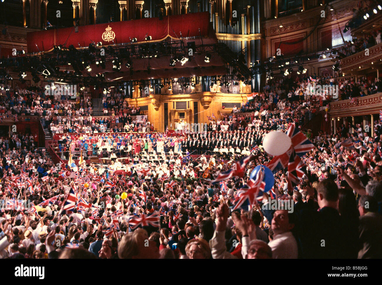 Audience at the Last Night of the Proms in 1992, Royal Albert Hall, Kensington, London, England, Europe - Stock Image