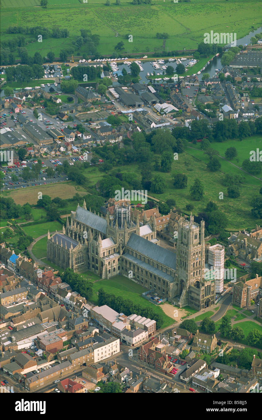 Ely Cathedral from the air, Cambridgeshire, England, Europe - Stock Image