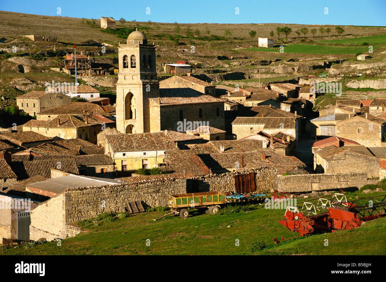 Traditional farming village Hontanas Burgos Castilla y Leon Old Castile Spain Europe - Stock Image