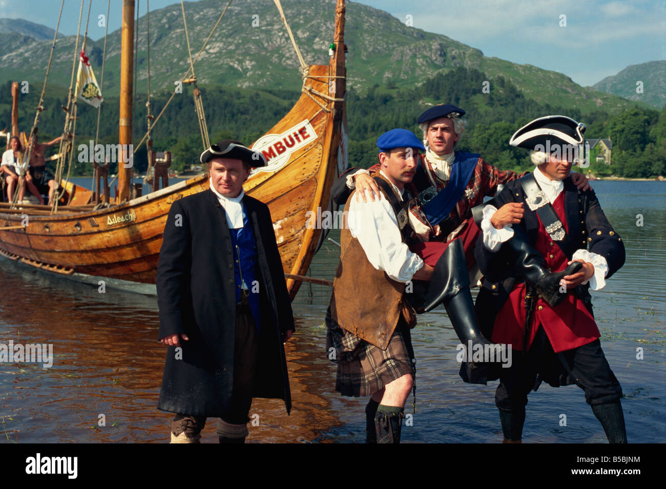 Re-enactment on the 250th aniversary of the return of Prince Charlie in 1745, Glenfinnan, Scotland, Europe - Stock Image