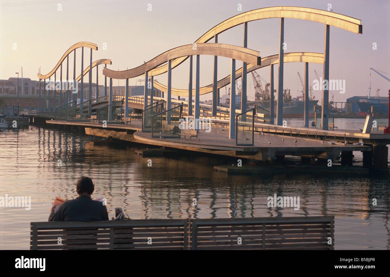 Rambla de Mar, swing bridge, Port Vell, Barcelona, Catalonia, Spain, Europe - Stock Image