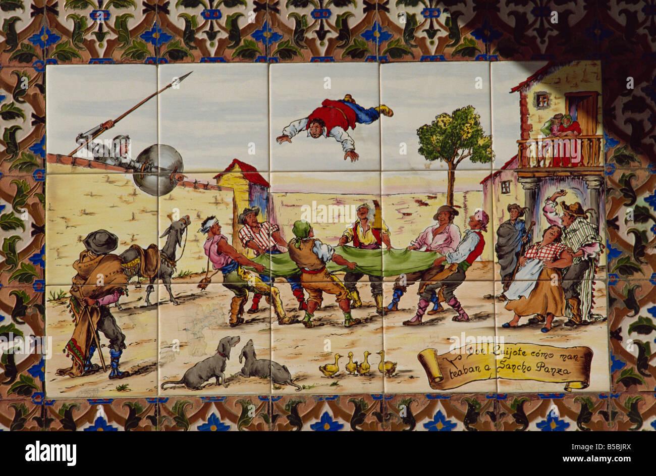 Painted wall tiles of Don Quixote, Toledo, Castilla La Mancha, Spain, Europe - Stock Image