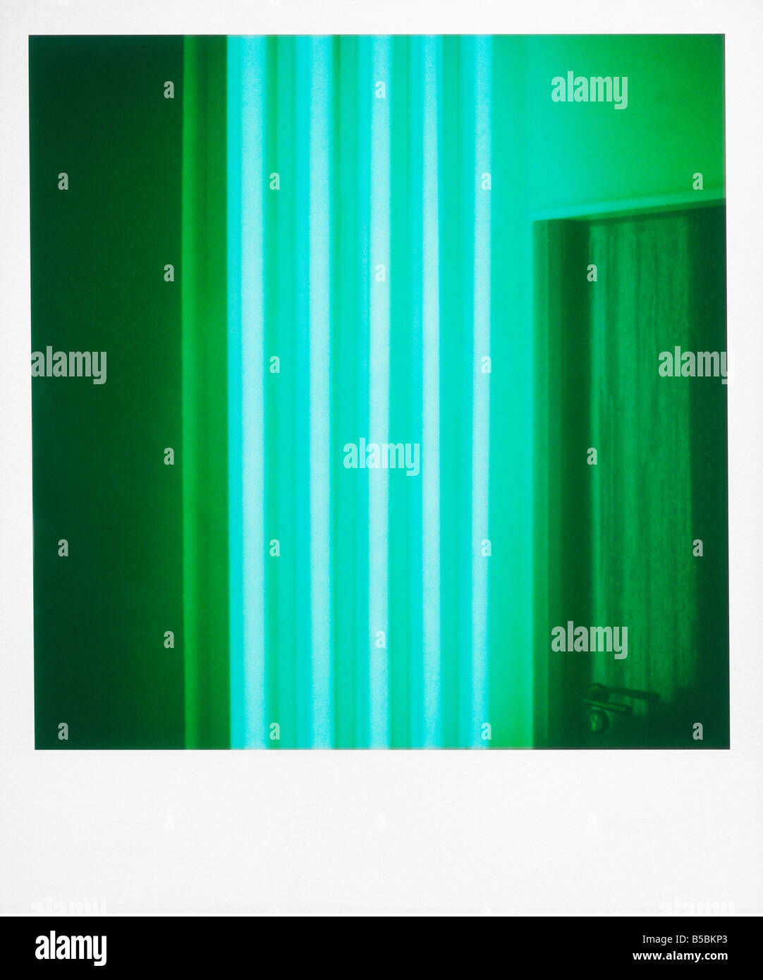 Polaroid of colourful stripes created by coloured fluorescent tubes Point Hotel Edinburgh Scotland United Kingdom - Stock Image