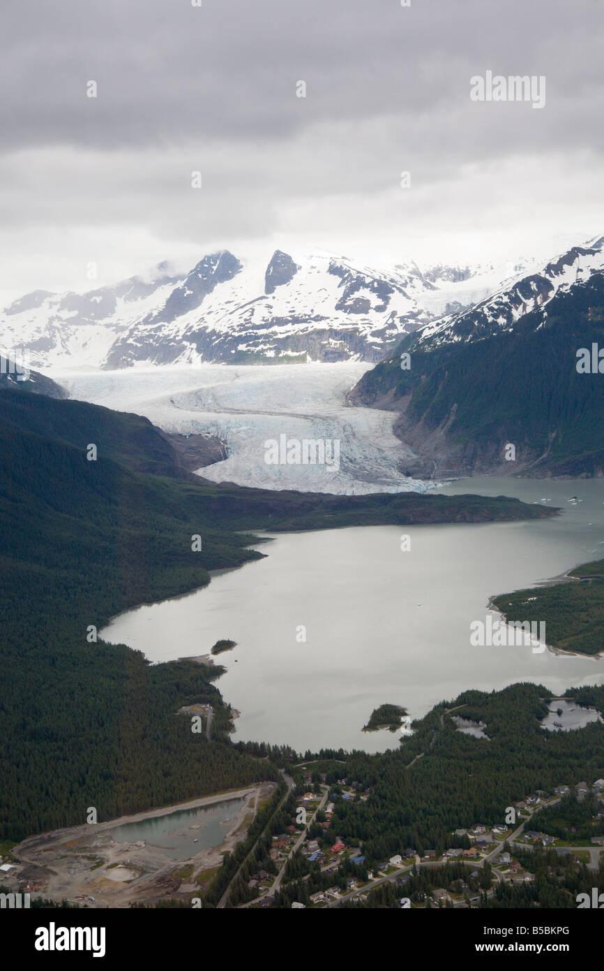 Mendenhall Glacier flows into Mendenhall Lake near Juneau, Alaska, USA Stock Photo