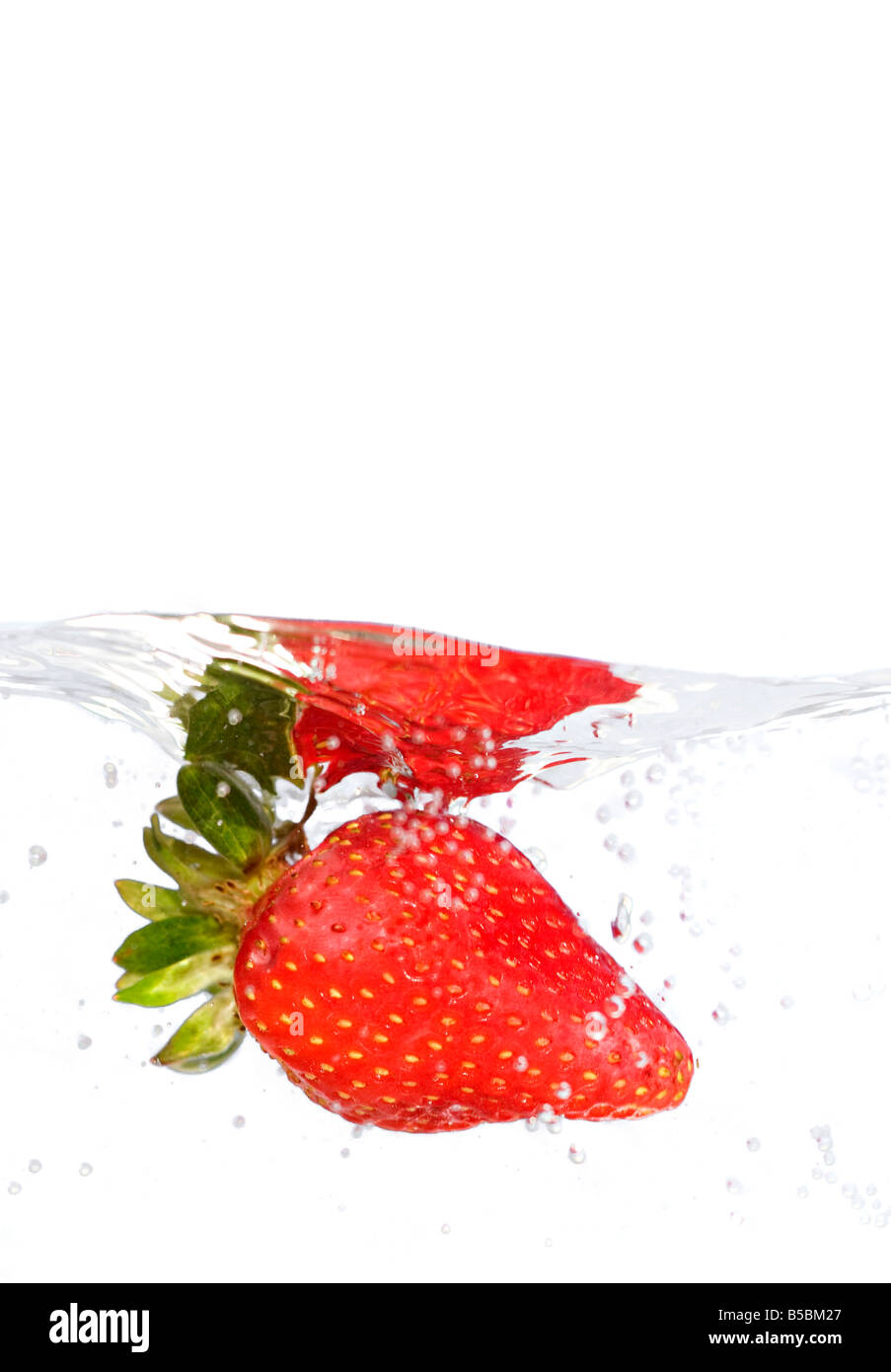 A juicy red strawberry plunging into some water Shallow depth of field - Stock Image