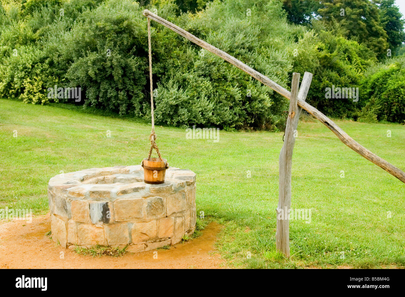 water well with bucket and lever Stock Photo: 20540928 - Alamy