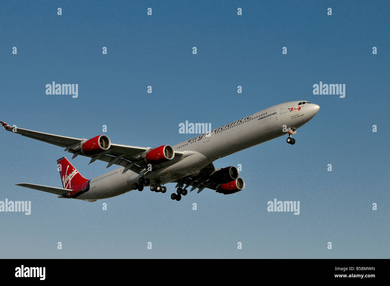 A lovely Virgin Atlantic operated long haul Airbus 340-600 - Stock Image