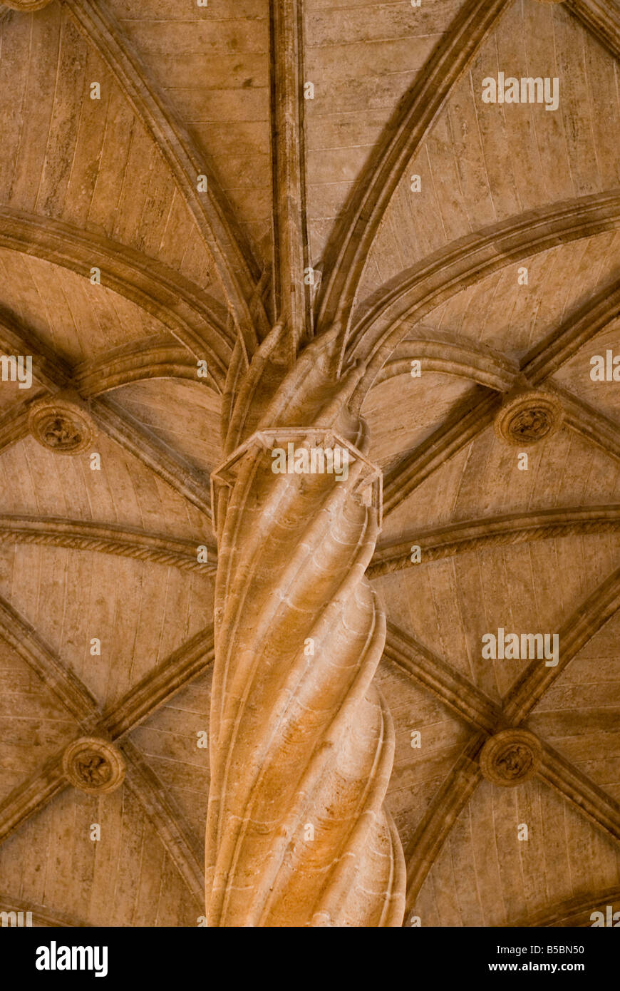 Helicoidal or spiral column with rib vaulted ceiling in La Lonja de la Seda formally a commodity exchange Valencia Stock Photo