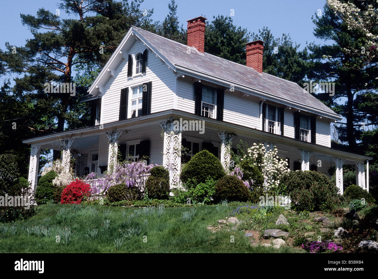 Lower Hudson Valley Victorian House in the Spring USA New York State - Stock Image