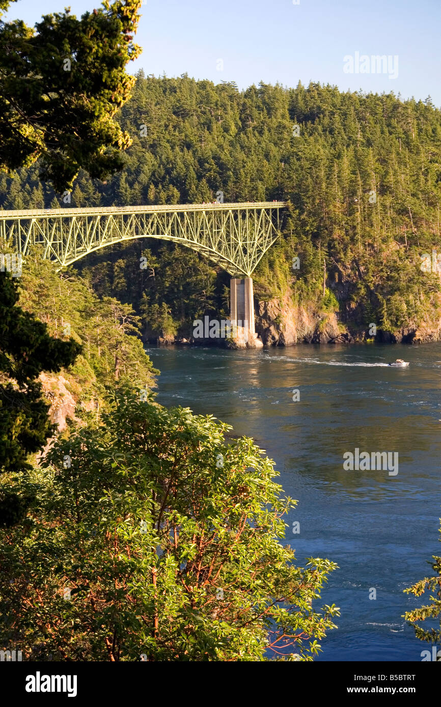 Deception Pass Bridge connecting Whidbey Island and Fidalgo Island in Island County Washington - Stock Image