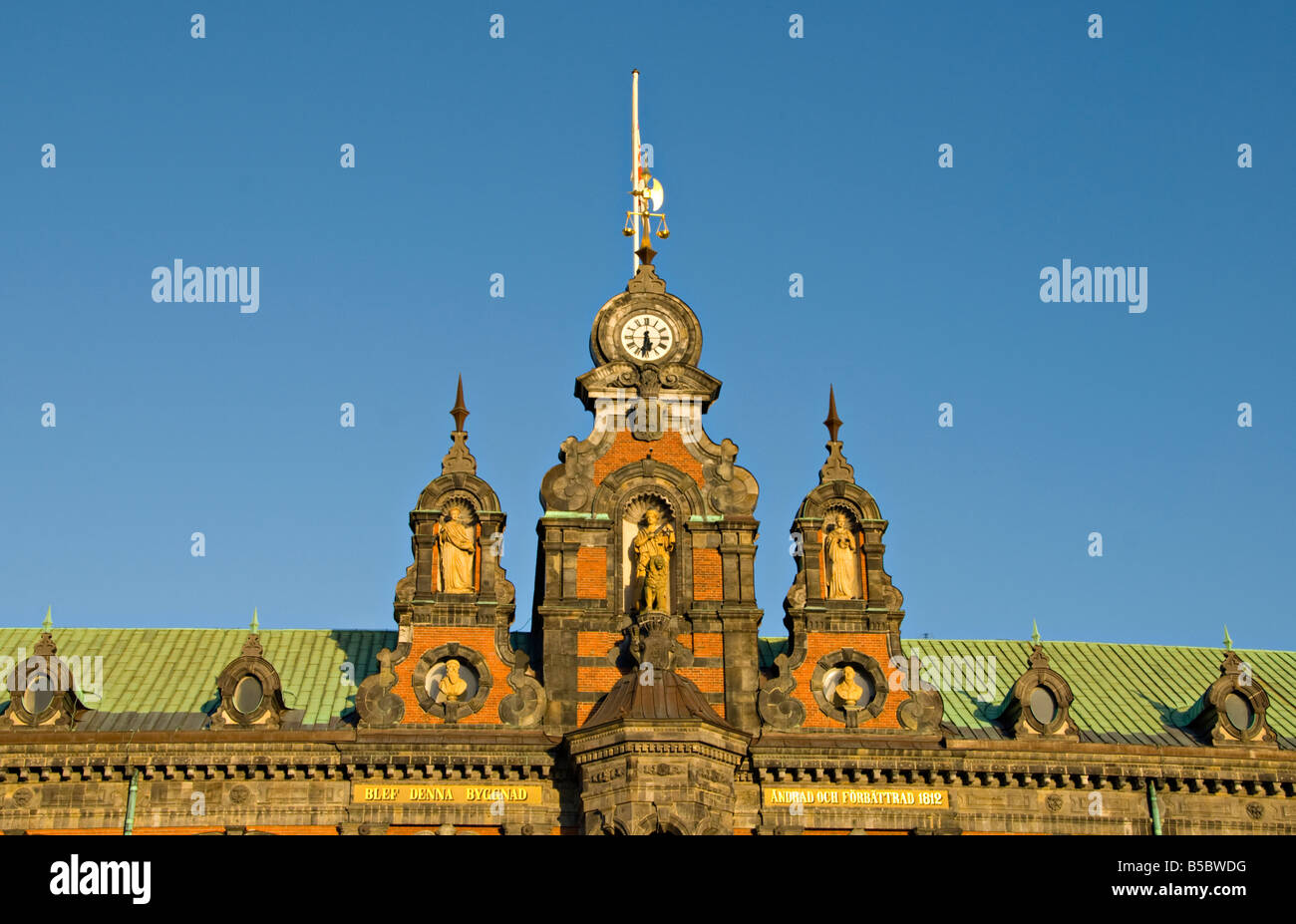 Close-up of the Town Hall Building in Malmø, Sweden. - Stock Image