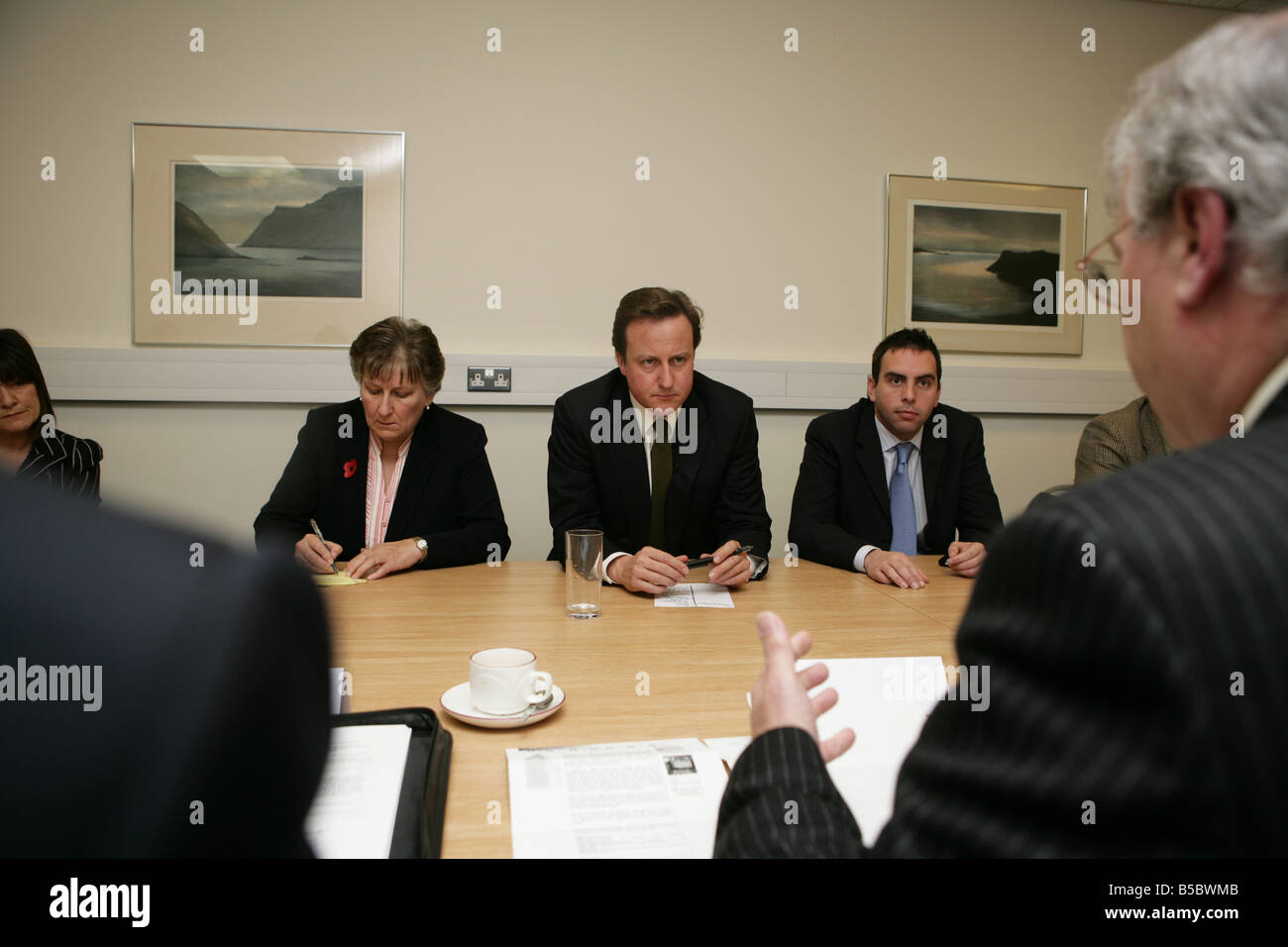 David Cameron meeting local business leaders at Rothes Halls during the Glenrothes by-election with Annabel Goldie - Stock Image