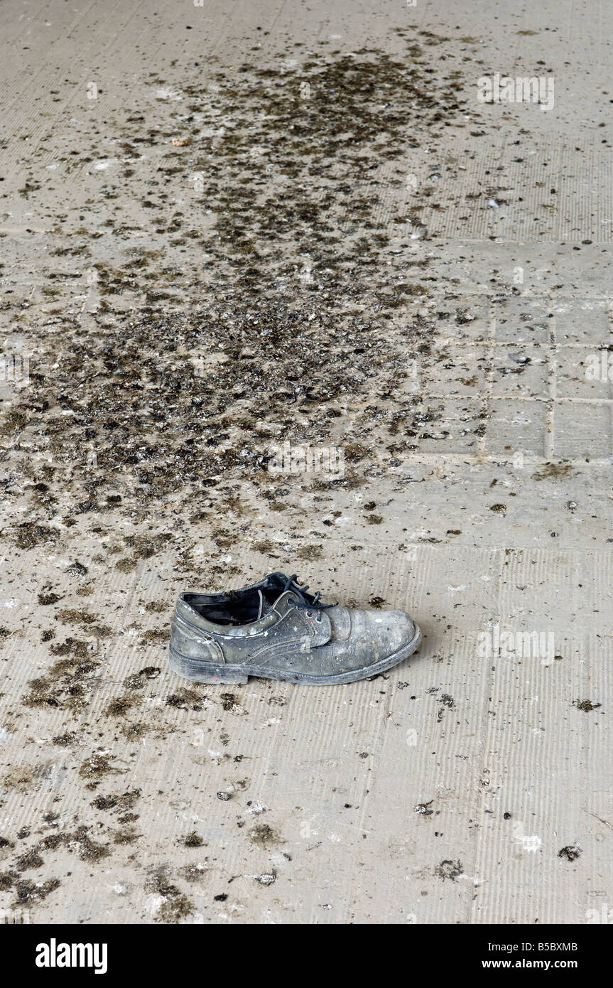 A dumped shoe collects bird droppings in the Olympic Stadium, Athens. - Stock Image