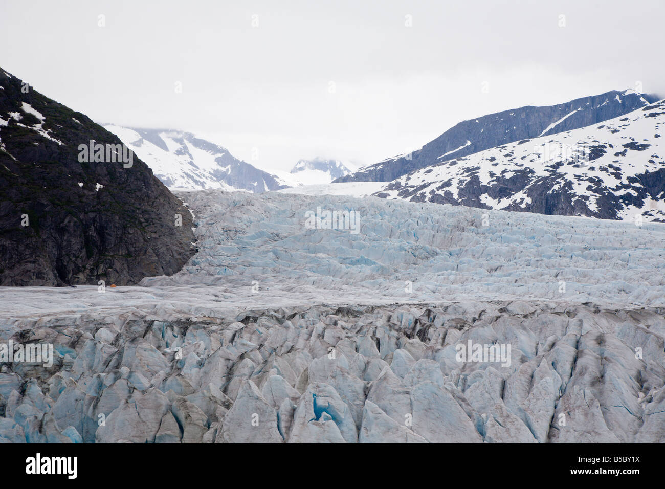 Close up view of ice shapes on the top of Mendenhall Glacier near Juneau, Alaska - Stock Image