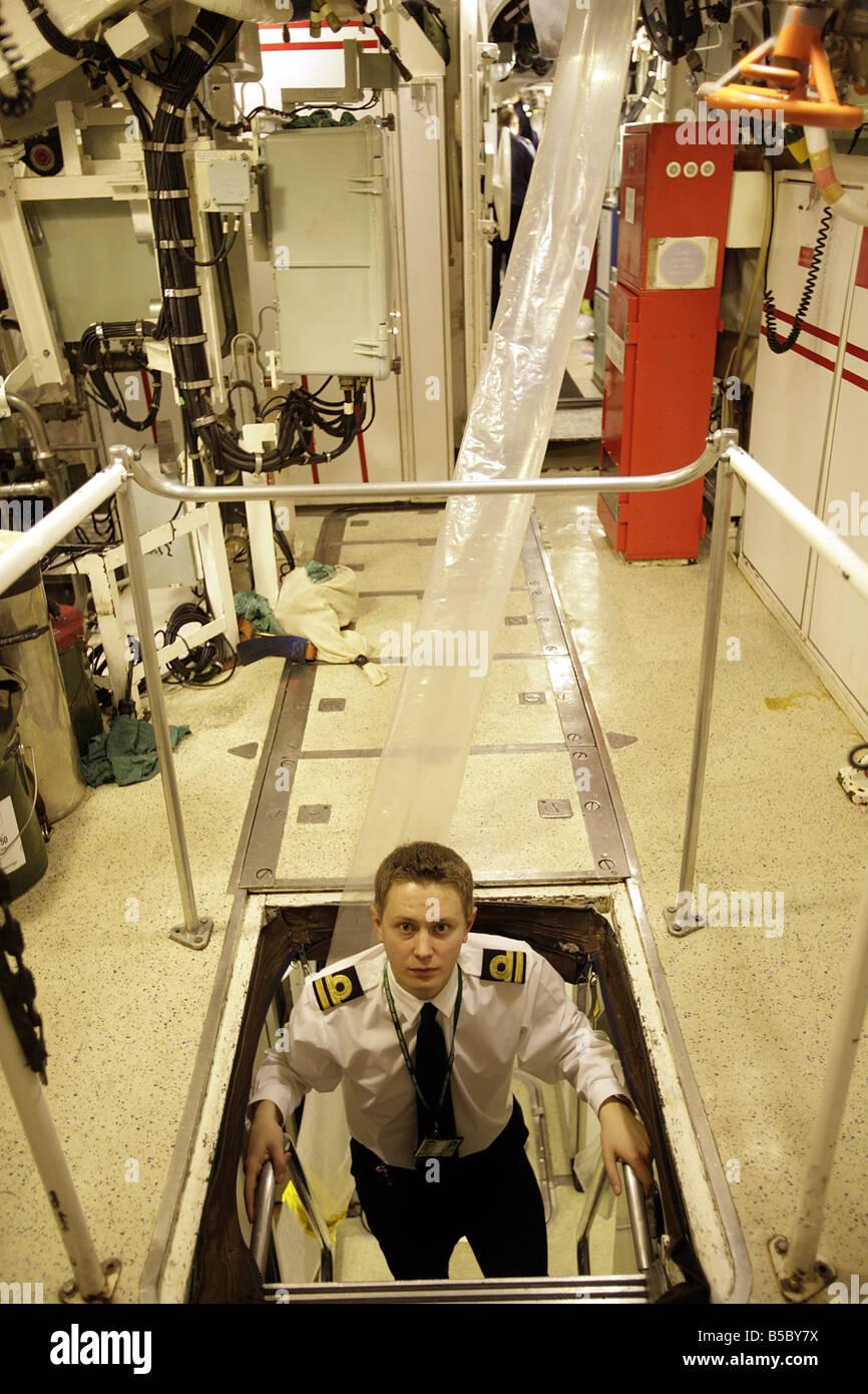 Lieutenant Alastair Harris on board HMS Vanguard berthed at Faslane Naval Base - Stock Image