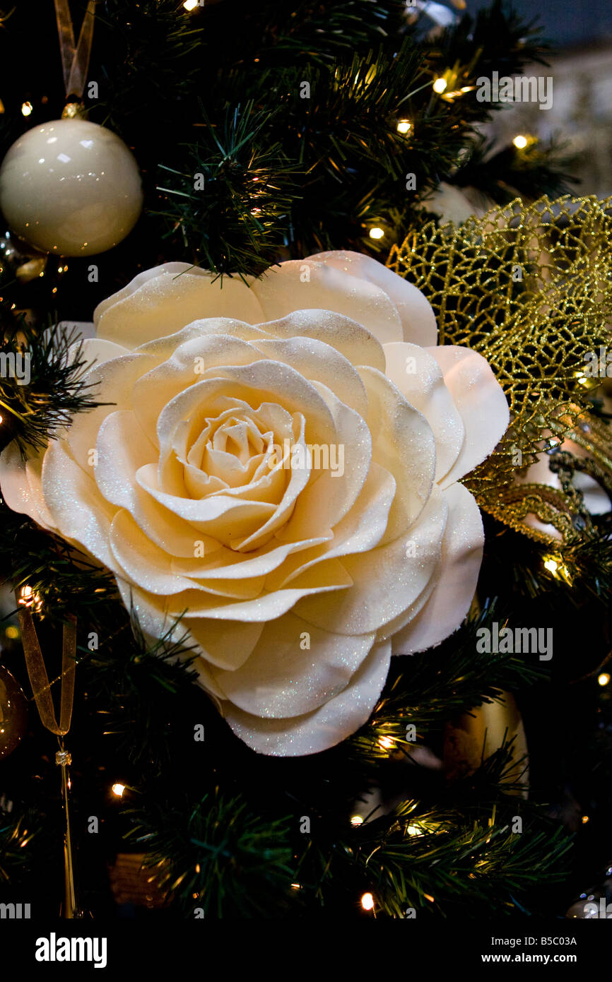 Large White Rose Flower Decoration In A Christmas Tree
