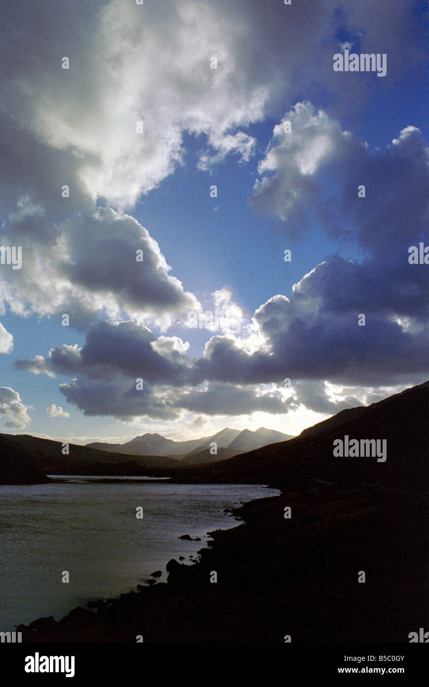 Sunrise over the lakes and mountains of Snowdonia National Park. Stock Photo
