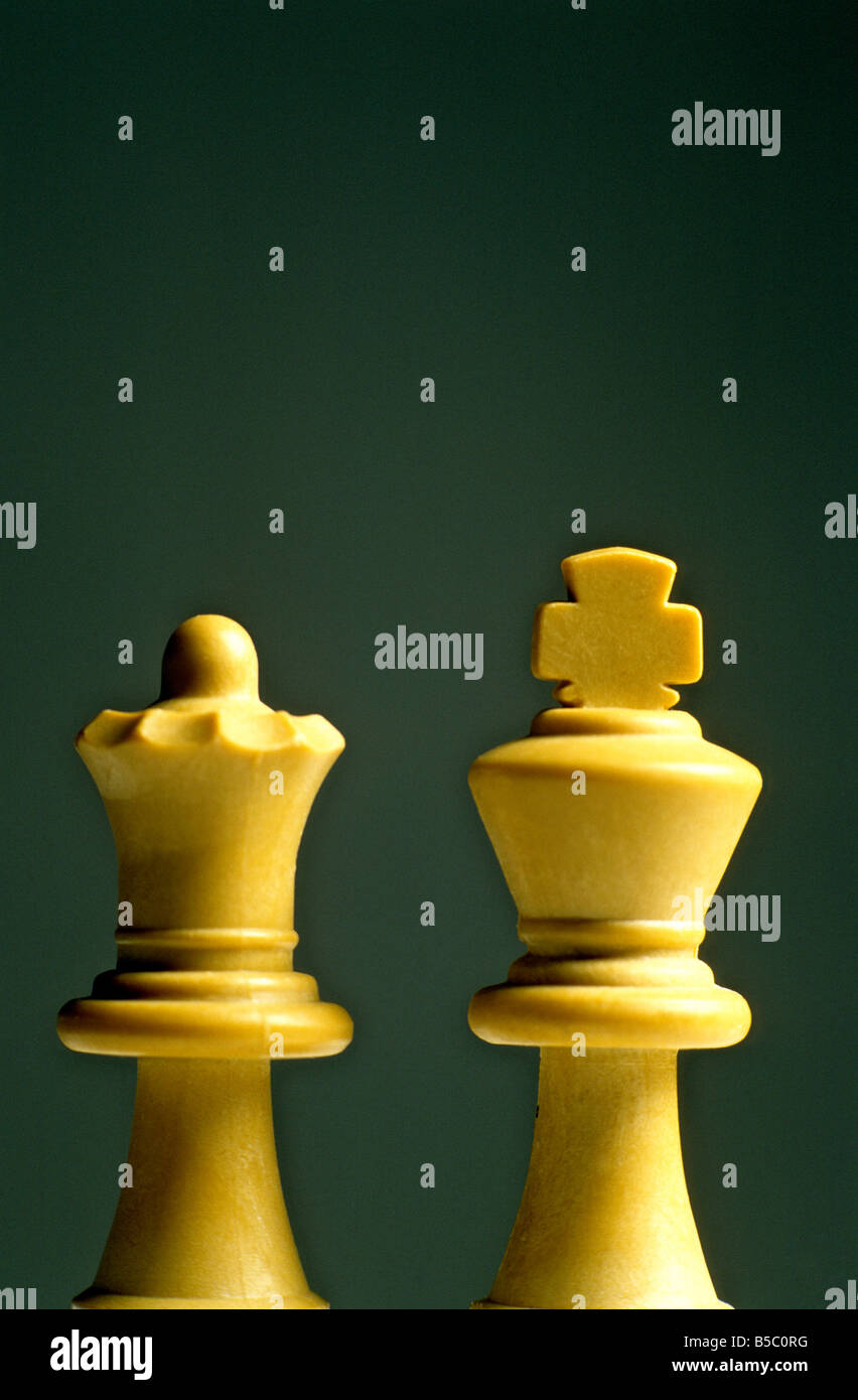 Chess pieces - white king and queen - Stock Image
