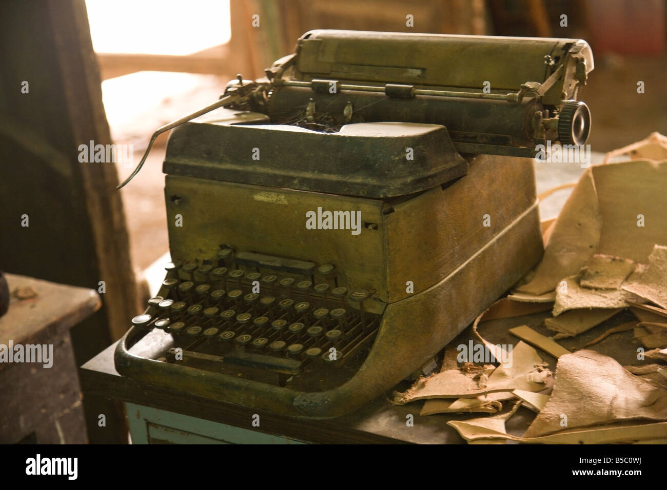 Type writer, and leather products - Stock Image