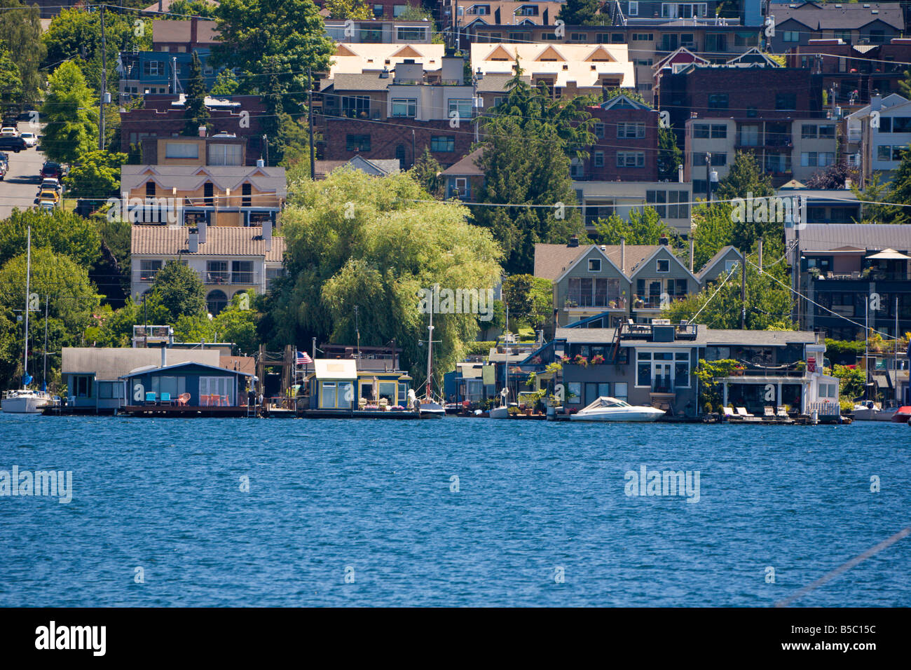 Floating Homes On Lake Union In Seattle Washington Stock