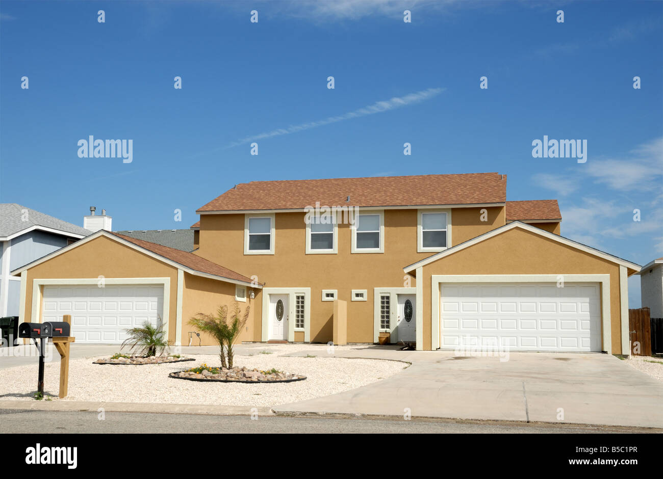 Duplex house in the United States - Stock Image