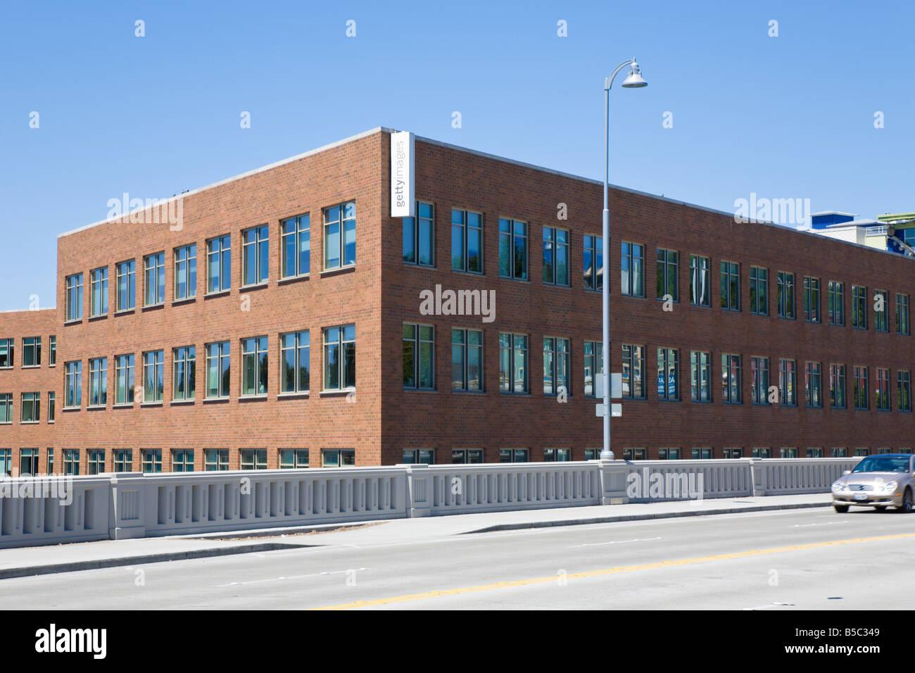 Getty Images office building beside Fremont bridge in Seattle, Washington - Stock Image