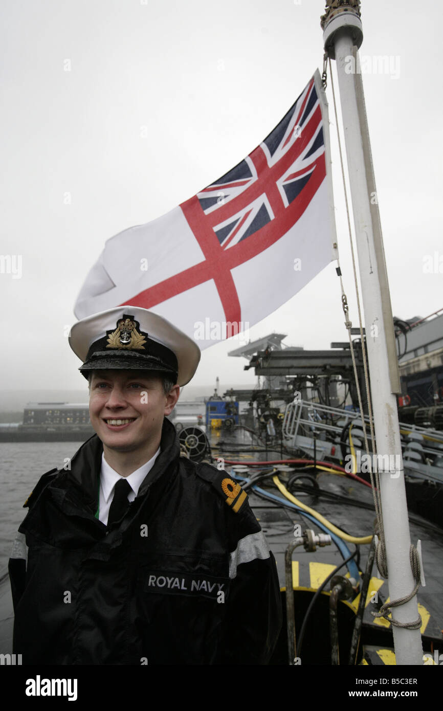 Lieutenant Alastair Harris on board HMS Vanguard berthed at Faslane Naval Base - Stock Image