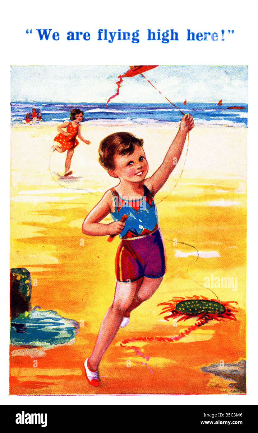 1930s 1936 Art Postcard Seaside from Inter-Art EDITORIAL USE ONLY Stock Photo