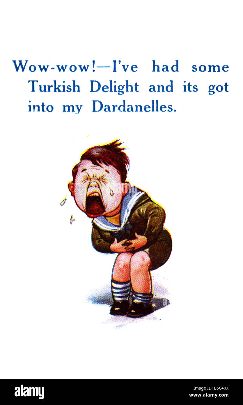 First World War comic Art Postcard referring to the Dardanelles campaign EDITORIAL USE ONLY Stock Photo