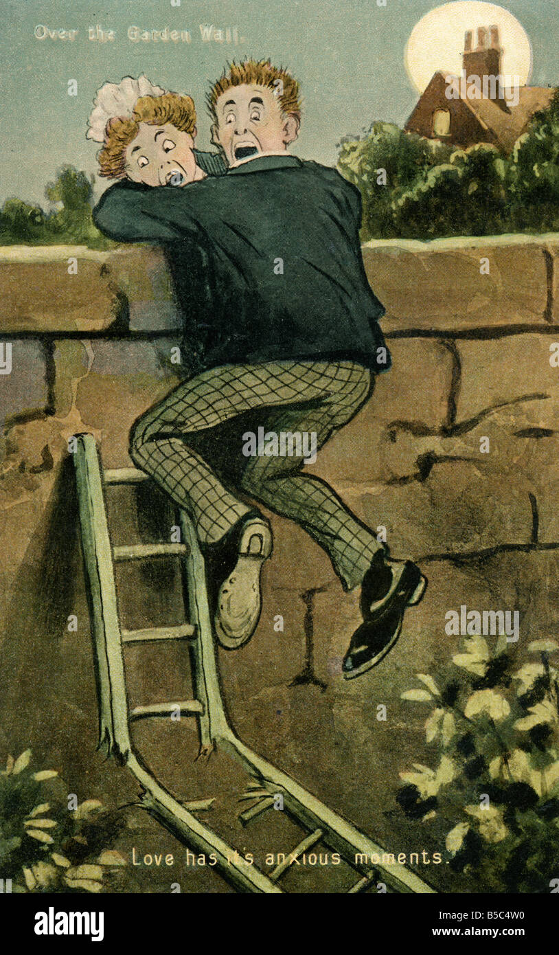1907 1900s Edwardian Comic Art Postcard EDITORIAL USE ONLY Stock Photo
