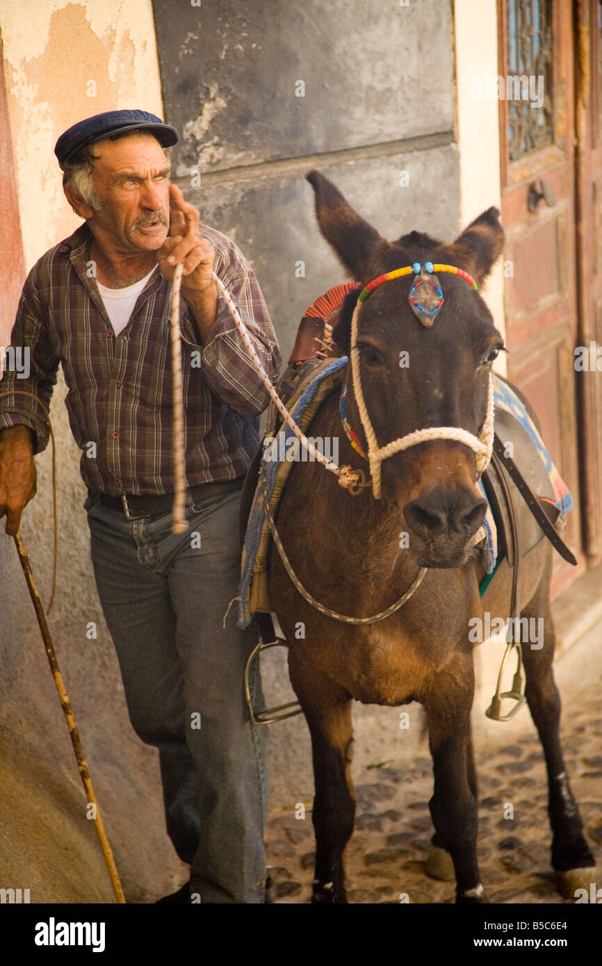 Fira Village Santorini Greece Man with donkey - Stock Image