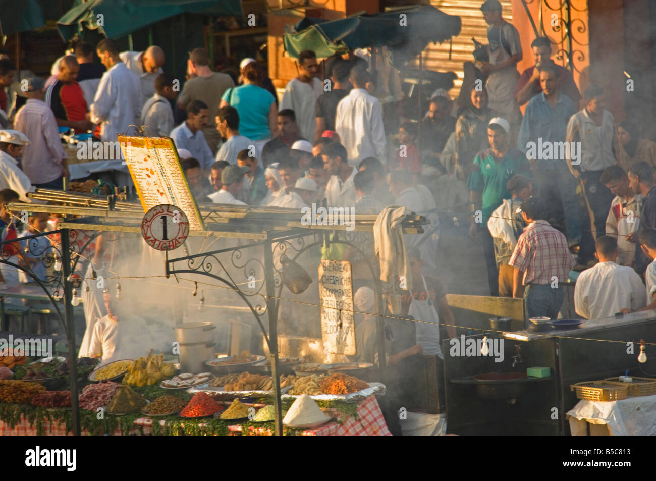 A compressed perspective aerial view of the open air 'restaurants' at the Djemaa El Fna in Marrakesh. - Stock Image