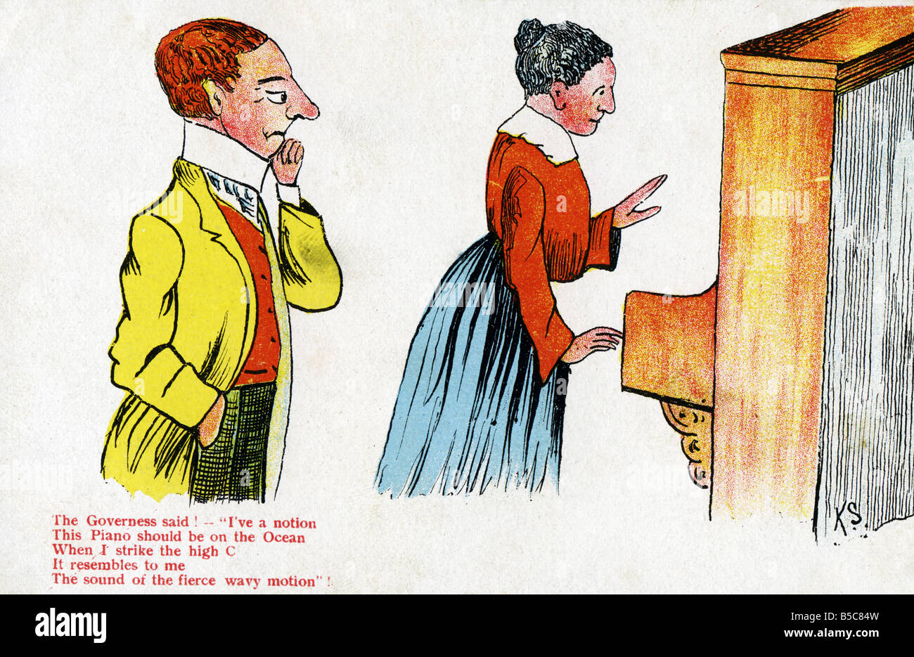1900s Edwardian Comic Art Postcard EDITORIAL USE ONLY Stock Photo