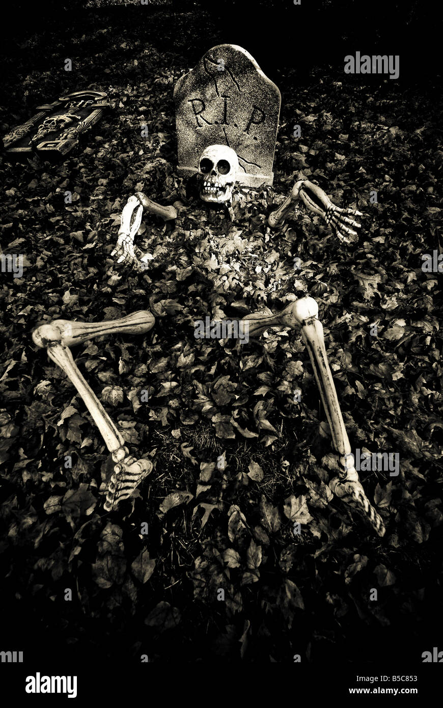 a skeleton rises from the grave on halloween this creative halloween