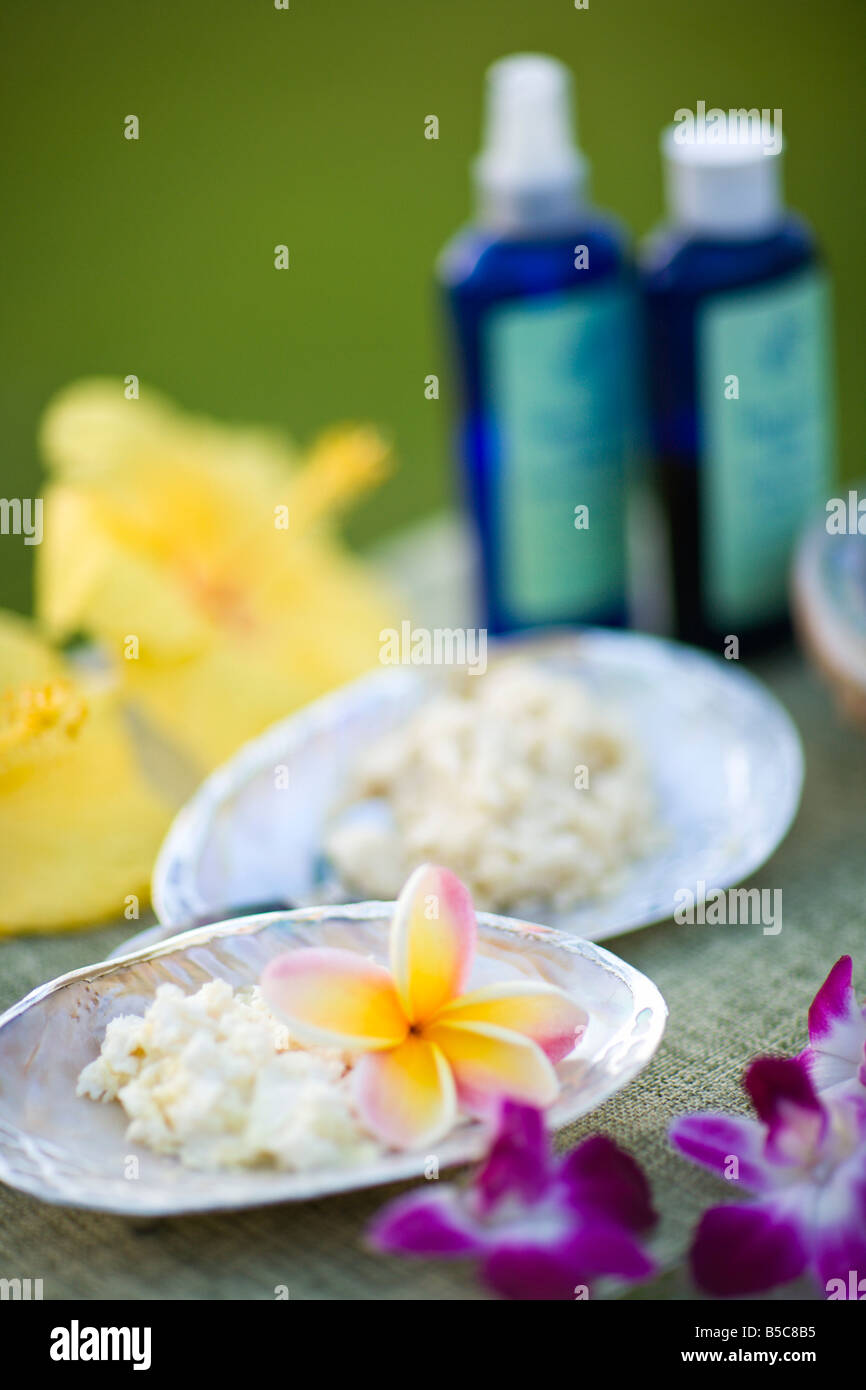 Spa products and flowers - Stock Image