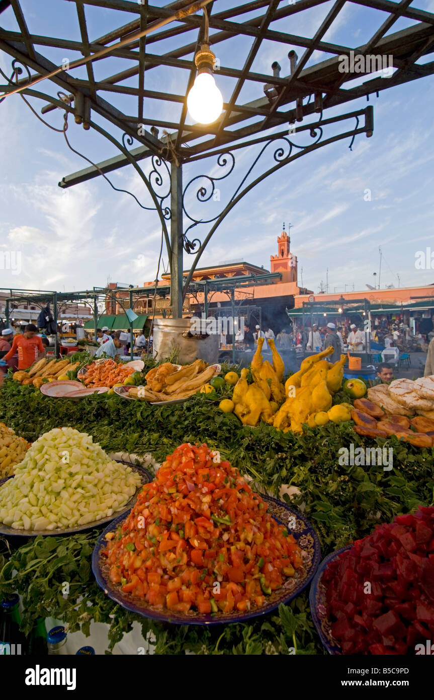 """A wide close view of an open air """"restaurant"""" at the Djemaa El Fna in Marrakesh. Stock Photo"""