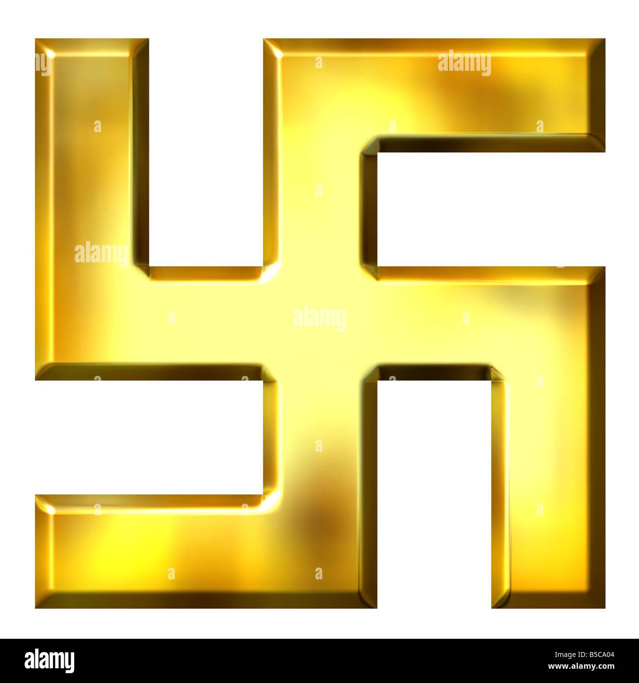 3d golden swastika - Stock Image