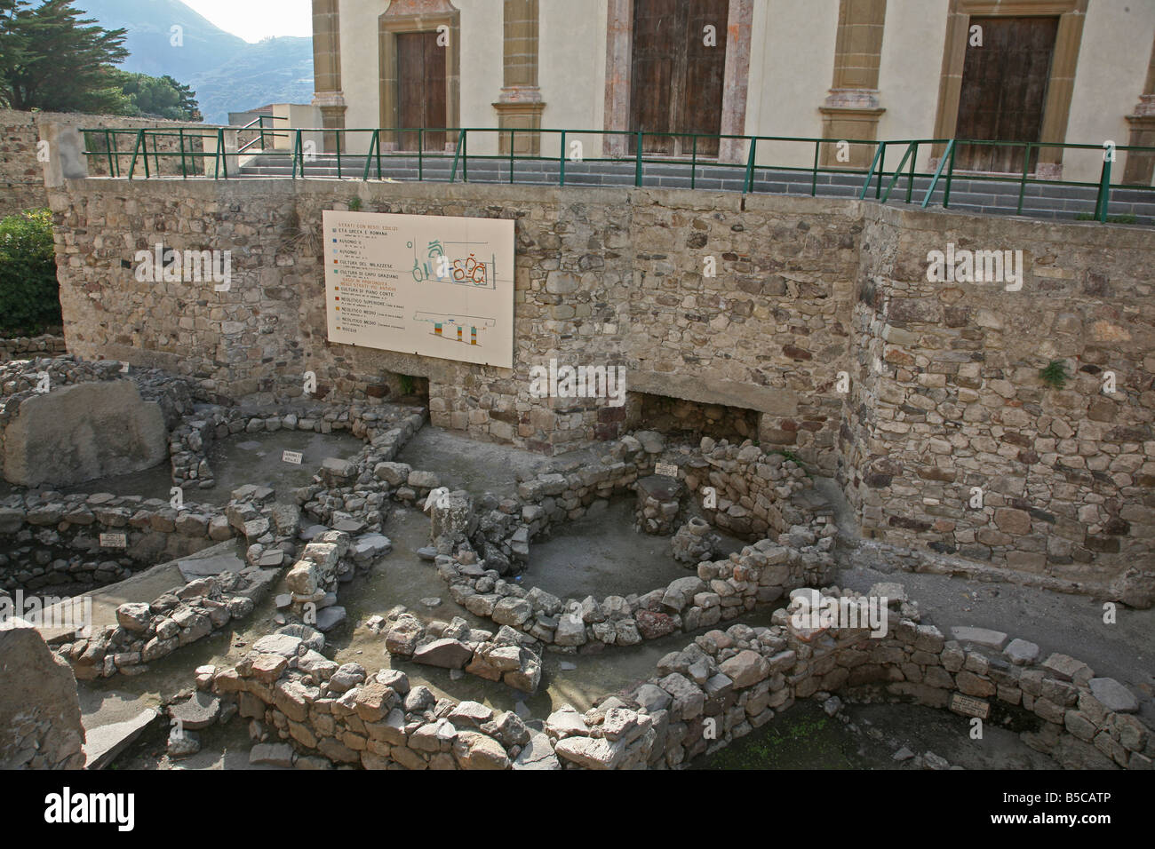 Archeologic excavation at the castle of Lipari, showing remains of prehistoric and Ancient Greek settlements - Stock Image