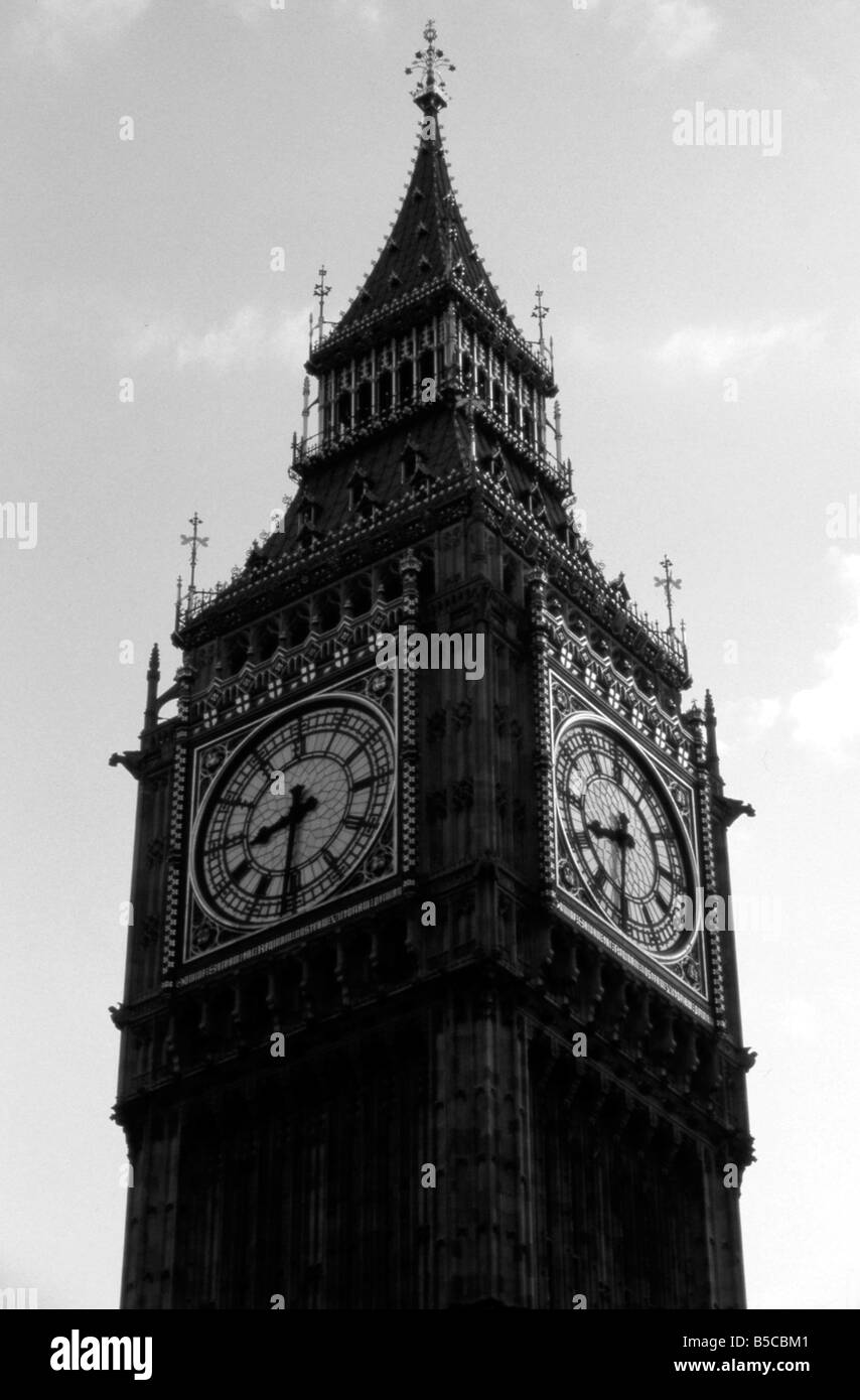 Ben Big black Britain capital clock destination England Europe famous historic history Houses landmark London monument - Stock Image