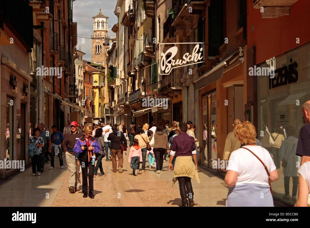 buy online 33e20 1902b shopping at Via Mazzini in Verona Italy Stock Photo ...