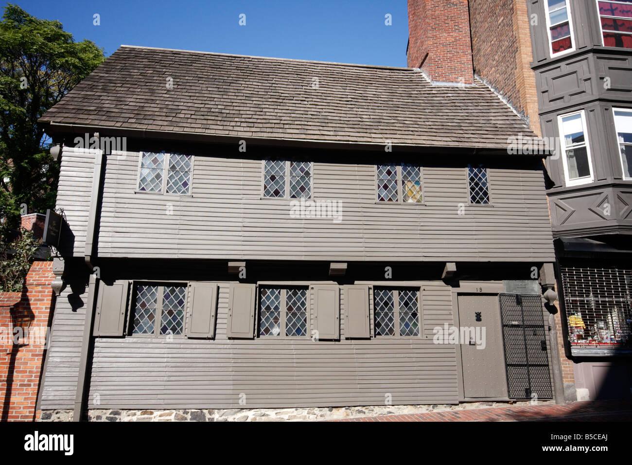 Paul Revere House in Boston Massachussetts - Stock Image